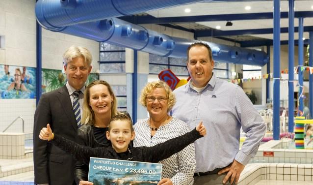 Bruno Giebels (directeur Sportfondsen Groep), Minke Booij (directeur Spieren voor Spieren). Thom Scheenstra (kind ambassadeur Spieren voor Spieren), Oma Sylvia (Mevrouw De Zoete), Alwin Heij (manager Sportfondsen Wageningen -Zwembad De Bongerd).