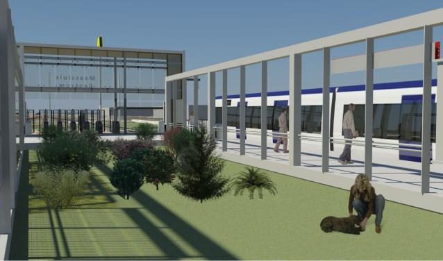 Voor de ombouw van trein- naar metrolijn wordt het zuidelijke perron van station Maassluis West aangepakt. Zo moet het eruit komen te zien.