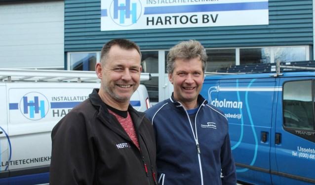 Hans Scholman (r.) gaat verder bij Harry Hartog (l): Installatietechniek Hartog bv. (Foto: Lysette Verwegen)