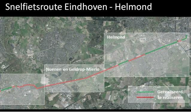 Een deel van de snelfietsroute tussen Helmond-Eindhoven.
