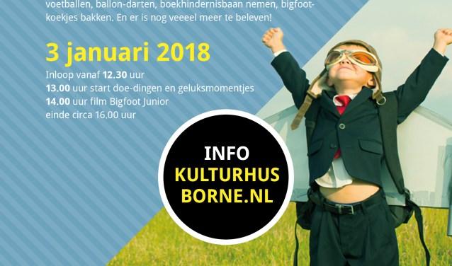 Gelukkige Woensdagmiddag! Kulturhus Borne houdt op 3 januari een kindervakantiemiddag boordevol Geluksmomentjes, inclusief de film Bigfoot Junior, voor basisschoolkinderen van 4 tot 12 jaar. Eigen foto