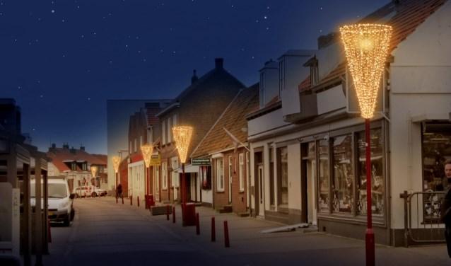 Afgelopen donderdag werd de nieuwe sfeerverlichting in het centrum van Zoutelande ontstoken. Tekst: Femke Vegt. Foto: Ondernemersvereniging Zomid.