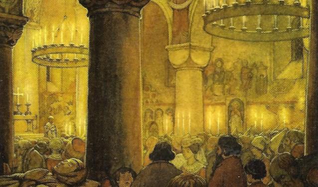 'Gysbreght van Aemstel' van Anton Pieck. In het Anton Pieck Museum is een voorstudie van dit werk te zien.