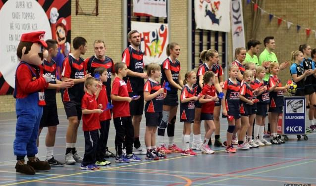 De korfballers van KCR wisten de eerste overwinning te boeken. (archieffoto van Sander Onderdelinden.)