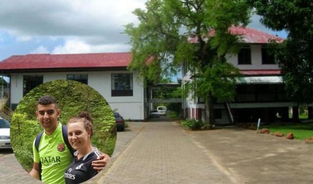 Op de foto het tehuis waar Lieke vrijwilligerswerk gaat doen bij meervoudig beperkte kinderen en jong-volwassenen. Inzet: Samir en Lieke die samen voor een half jaar naar Suriname vertrekken.
