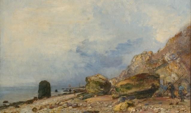 Een schilderij uit 1862 van Johan Barthold Jongkind, genaamd Rotskust bij Sainte Andresse.
