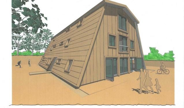 Het nieuwe hoofdkwartier van Scouting Andreas Zijlmansgroep uit Waalwijk - achter de rijhal van De Paardenvriend - krijgt een piramidevorm met een houten uitstraling.