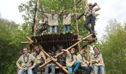 De verkenners van scoutinggroep De Zwervers heten iedereen welkom op de open dag.