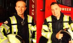 Jan Blom (links) en Pascal Schuttevaer laten zien dat appartementseigenaren veel risico lopen op brand . (Foto: PR)