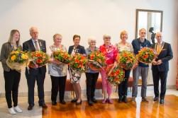 Vlnr Talitha Jansen, Henk de Gooijer, Klazien Bos-van de Kemp, Gon van Ommen, Hennie Schreuder-Davelaar, Mirjam Krabshuis en Bob Krabshuis.
