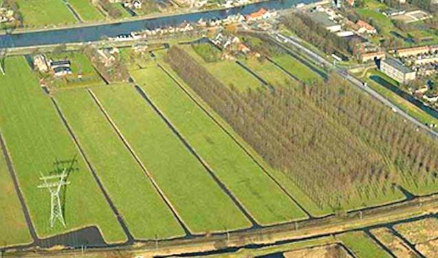Luchtfoto van het gebied waar het Westvaartpark is gepland. (Foto: Vibu Projectontwikkeling)