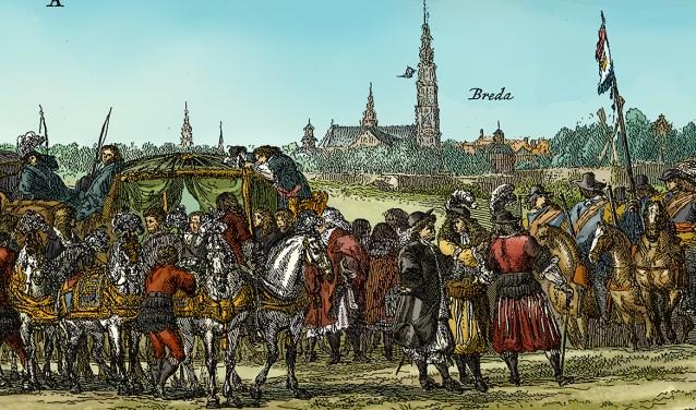 Dit is een onderdeel van de prent van de Vrede van Breda van Romeyn de Hooghe uit 1667, die opnieuw ingekleurd is door Jorg de Vos. Eén van de 3 kleurplaten, die van Mandy Peeters, is geïnspireerd op deze prent.