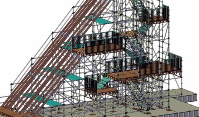 Peter van Mil van Aannemingsbedrijf van Mil bouwt de slide samen met anderen, waaronder Goedhart Bouwcenter.