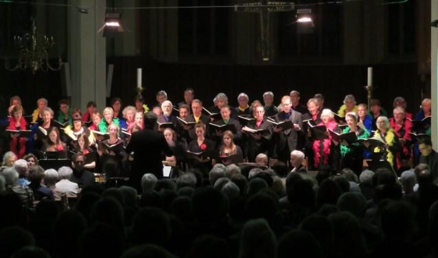 Het Wijks Vocaal in actie in de overvolle kerk. (Foto: John Beringen)