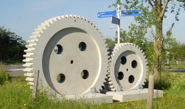 Het werk 'Industrieel Erfgoed' van kunstenaar Jos Verschaeren is een van de werken op de kunstroute.