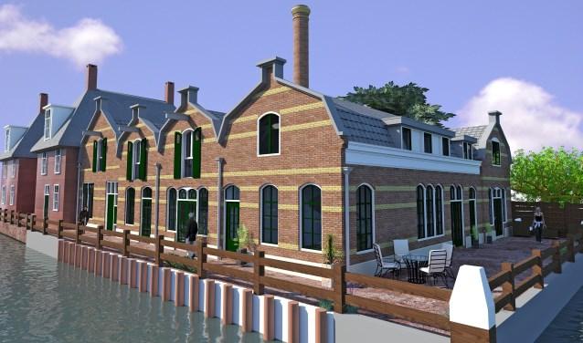 De voormalige limonadefabriek op de hoek van het Omloopkanaal en de Oude Rijn wordt gerestaureerd en verbouwd tot zes woningen.