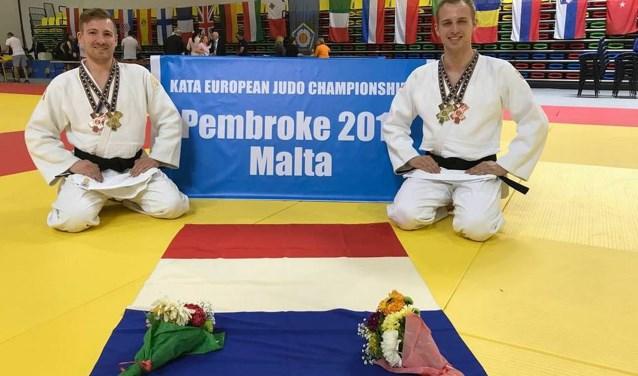Erik Faes (links) en Niels Neumann werden in Malta de nieuwe Europese Kampioenen Judo Kata in het nage-no-kata