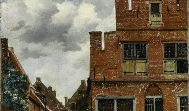 Detail van het Straatje van Vermeer, dat volgens twee kunsthistorici toch niet in de Vlamingstraat kan liggen. Maar waar dan wel?