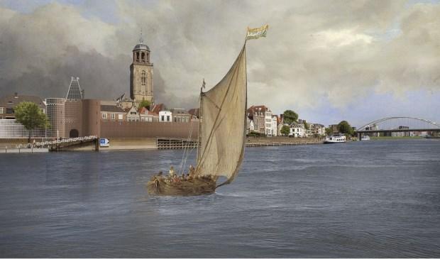 Stadsgezicht van Deventer met 3D-reconstructie van oude stadsmuur