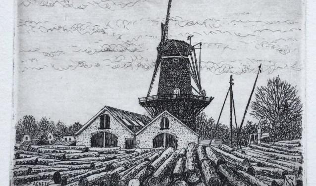 Een ets van de molen Agneta door kunstenaar Wim van der Meij.