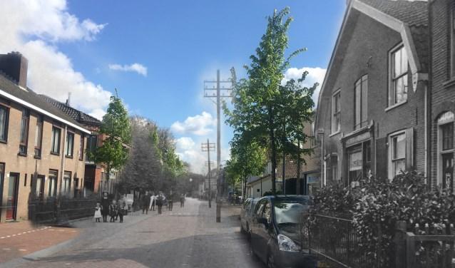 Op deze foto van de Burgemeester de Withstraat in 1910 en in 2017, is te zien wat er in ruim een eeuw is veranderd. FOTO: Matthijs Iseger
