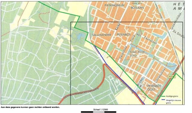 Een situatieschets met de huidige grens (groen) en een mogelijk nieuwe grens (blauw), doorlopend langs de Cuneraweg.