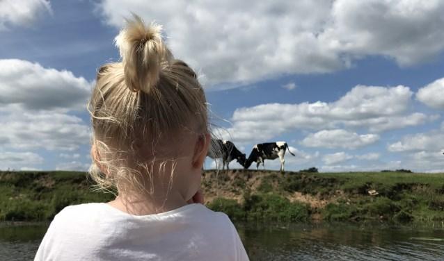 Vakantie in eigen land: Fiene vanaf de boot van haar ouders genomen op de Vecht (Ommen, Overijssel) tijdens onze zomervakantie. Echt Hollands!FOTO:  Lotte van den Brink