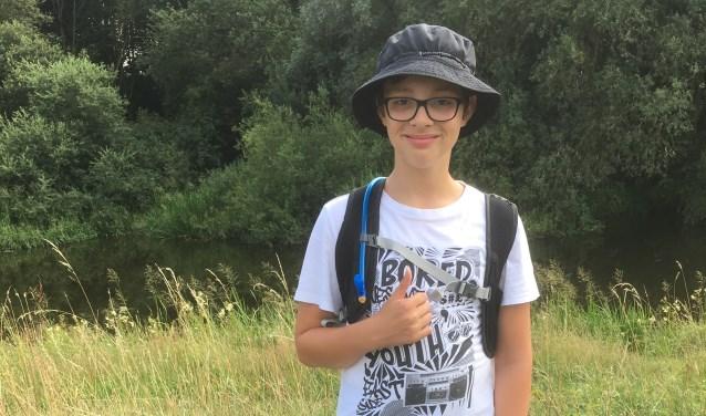 """Ticho Meddeler uit Rekken is met zijn 12 jaar één van de jongste deelnemers aan de 101ste Nijmeegse Vierdaagse. """"Ook al heb ik Asperger, ik kan net als ieder ander kind de vierdaagse lopen."""""""
