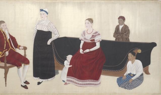 Het gezin van Titia Bergsma en Jan Cock Blomhoff, met de kleine Johannes, in Japan, door Ishizaki Yushi. Jan en Johannes werden later inwoners van Amersfoort. Jan stichtte het landgoed Birkhoven. (Bron: Rijksmuseum)