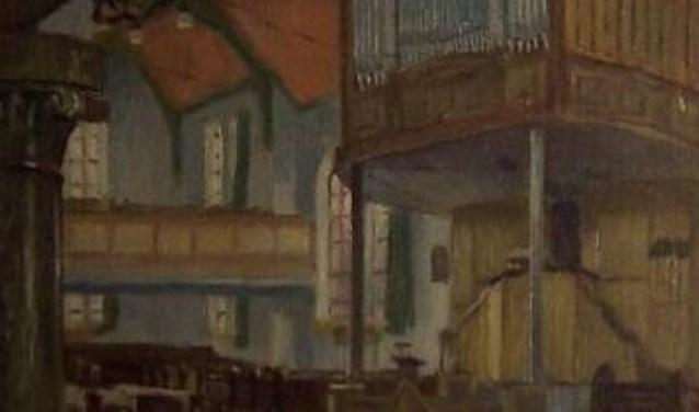 Interieur van de Walkerk. Boven de preekstoel is een deel van het orgel te zien.