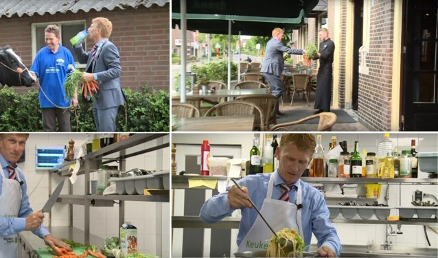 Fragmenten van het promotiefilmpje waarin burgemeester Marnix Bakermans kokende kinderen uitdaagt om zich op te keven voor Keukenbazen 2017. De burgemeester uit de winnende gemeente mag zich een jaar lang 'SmaakBurgemeester van Nederland' noemen.
