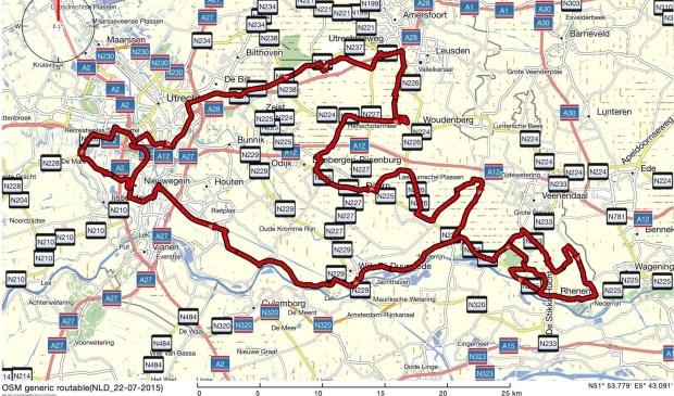 De routekaart van de wedstrijd van zondag.