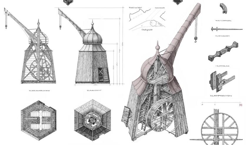 De bouw van de houten kraan duurt zo'n twee jaar. Overigens bestaan er geen foto's van het gevaarte, alleen prenten en schilderijen zoals bovenstaande.