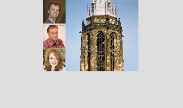 De klokken van de Cuneratoren, met links de artiesten van het Beiaardconcert dat op zaterdag 16 september van 14:00 tot15:00 uur plaats vindt. (Foto: Willy Hoorn)