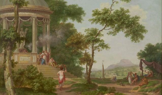 Dit werk van Jurriaan Andriessen is nieuw in het Rijksmuseum Twenthe. Op deze afbeelding zien we een gedeelte van het werk 'Vijf arcadische landschappen'. Dit werk is circa tussen 1780 en1790 gemaakt.