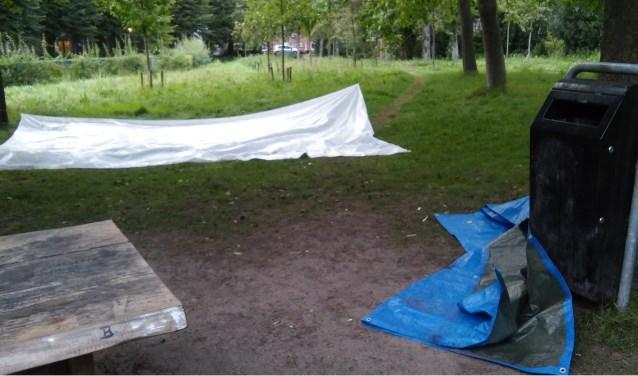 Achtergebleven rotzooi zorgt voor een trieste aanblik in het park Friese Gracht.