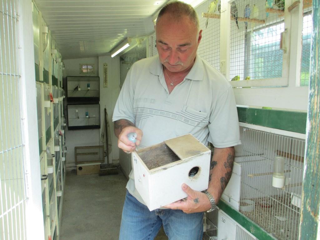 Albert Schild toont vol trots een nestje in zijn vogeldomein.