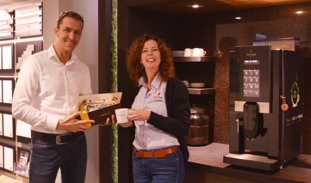 Aart Jan Post (Thuis in Bouwen) en Mariska Lamme (Fortune Coffee)