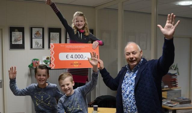 Roos overhandigt namens Explorius 4.000 euro aan Ruud Sliphorst van stichting Opkikker.