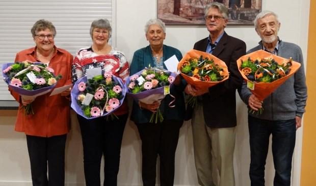 Van links naar rechts: Henny Mourik, Gerda de With, Rina en Henk van Luinen en Kees Slobbe. Eigen foto