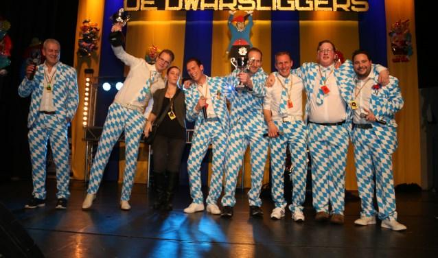 Winnaars Carnavals Songfestival 2018: De Verapzakte Boys. (Foto: Jacky van Dreumel)