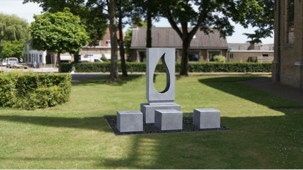 -Montagefoto van de plaats van het monument aan de noordzijde van de Dorpskerk. Foto: Oranjevereniging Westmaas © Persgroep
