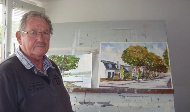 Jan van der Wal houdt zich graag bezig met aquarellen. (Foto: Eline Lohman)