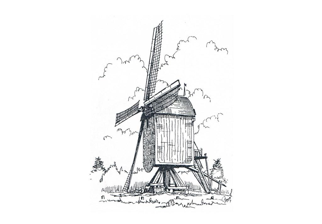 Een tekening van de hand van G. Pouw van de standerdmolen in Rosmalen. De molen heeft in zijn bestaan verschillende eigenaren, huurders en pachters gehad. Slopen mocht vanwege de Monumentenwet niet, de gemeente werd in 1957 de voorlopig laatste eigenaar.