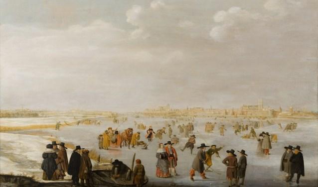 Een schilderij van Barend Avercamp, genaamd 'ijsvermaak op de IJssel bij Kampen'.