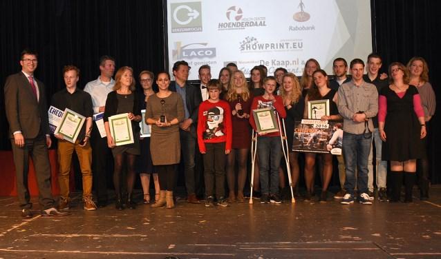 De winnaars van de sportverkiezing in 2016. Toen werden in zes sportcategorieën de prijzen uitgereikt. FOTO: archief