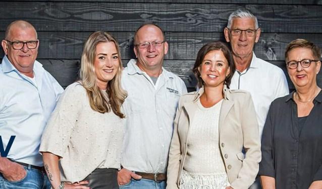 Het bestuur van NEW: Jan ten Berge, Lesley Atalay-Schutte,  Henk Lohuis, Leonie Prieshof,Gerrit Nieuwenhuis en Hermien Waanders. (Wouter ter Stal en Gea Nieuwenhuis ontbreken).