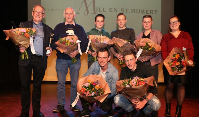Rob Vloet, vrijwilliger van het jaar 2017 (uiterst links) (Foto: Marco van den Broek).