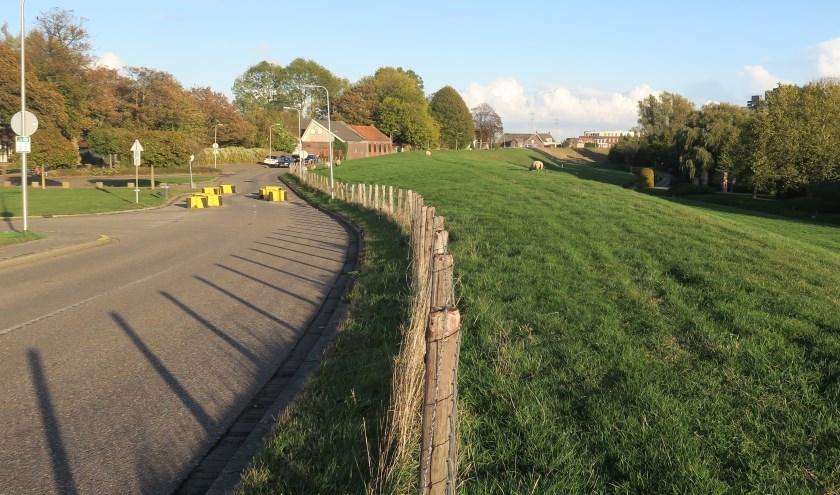 Bovenop de Ringdijk zou als het aan de gemeente ligt, een snelle fietsroute moeten komen (Foto Geert van Someren)