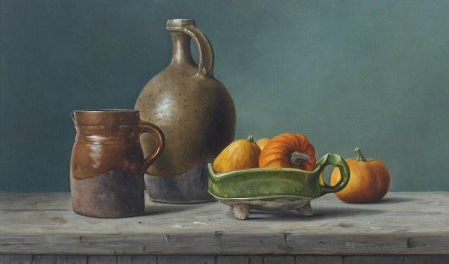 'Aardewerk en kalebassen', een werk van Pita Vruegdenhil. . (foto: Cor Vreugdenhil)